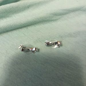 KATE SPADE silver bow earrings NEVER WORN